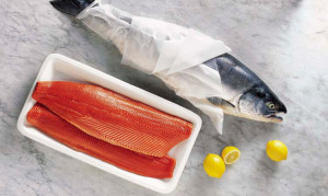 sockeye fillet next to whole fish